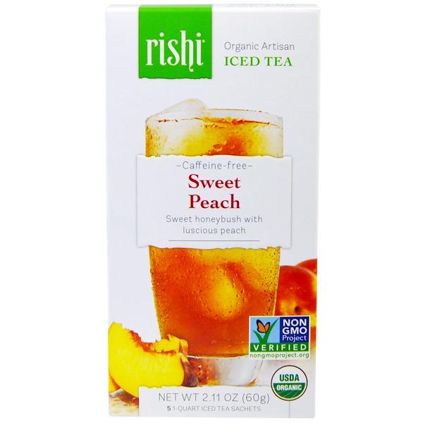 Rishi Tea, オーガニック・アーティザン・アイスティー、カフェインフリー、スイートピーチ、1クオート・アイス・ティー小5袋、2.11オンス(60g) (Discontinued Item)