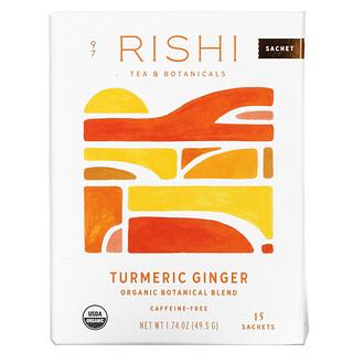Rishi Tea, органическая растительная смесь, куркума и имбирь, без кофеина, 15пакетиков, 49,5г (1,74унции)