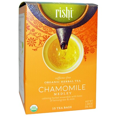 Купить Органический травяной чай, смесь с ромашкой, без кофеина, 15 пакетиков, 1, 22 унции (34, 5 г)