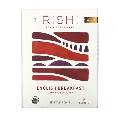 Rishi Tea Organic Black Tea, English Breakfast, 15 Tea Bags 1.69 oz (48 g)