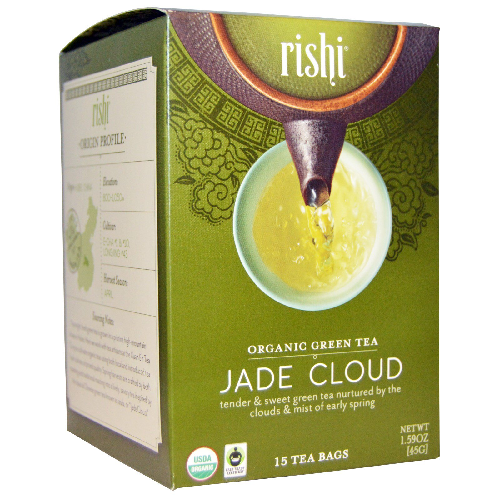 Rishi Tea Organic Green Jade Cloud 15 Bags 1 59 Oz