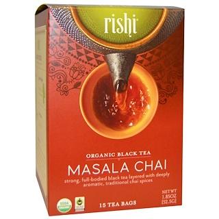 Rishi Tea, オーガニック ブラックティー、マサラチャイ、15ティーバッグ、各1.85 oz (52.5 g)