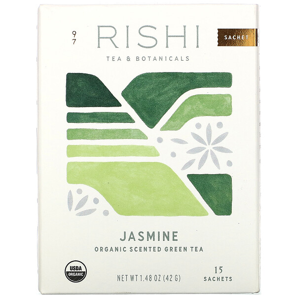 Rishi Tea, Organic Scented Green Tea, Jasmine, 15 Sachets, 1.48 oz (42 g)