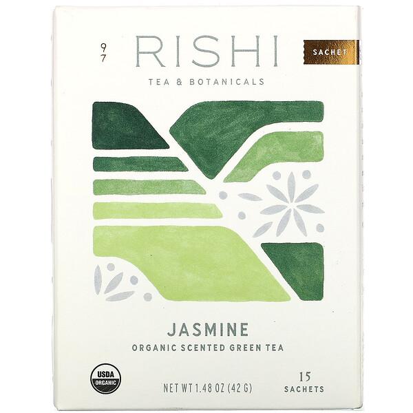 Organic Scented Green Tea, Jasmine, 15 Sachets, 1.48 oz (42 g)