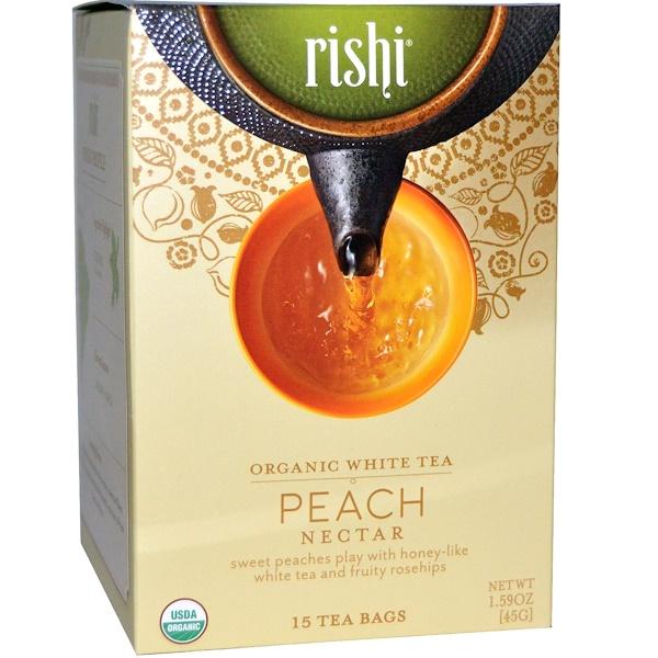 Rishi Tea, Organic White Tea, Peach Nectar, 15 Tea Bags, 1、59 oz (45 g)