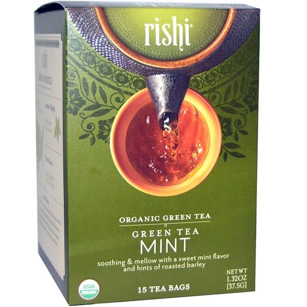 Rishi Tea, Organic Green Tea, Mint, 15 Tea Bags, 1、32 oz (37、5 g)