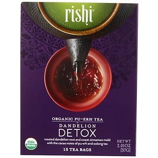 Rishi Tea, Organic Pu-Erh, Dandelion Detox, 15 Tea Bags, 2.01 oz (57 g)