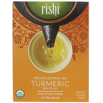 Rishi Tea 有機清涼茶,薑黃芒果味,15包茶包,2.01盎司(57克)