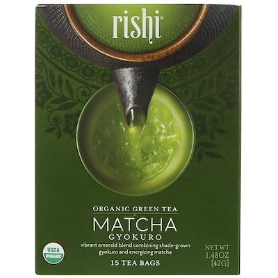 Органический зеленый чай, матча гёкуро, 15 чайных пакетиков, 1,48 унц. (42 г) benefits обновление куркума чили матча зеленый чай 18 чайных пакетиков 1 15 унц 32 г