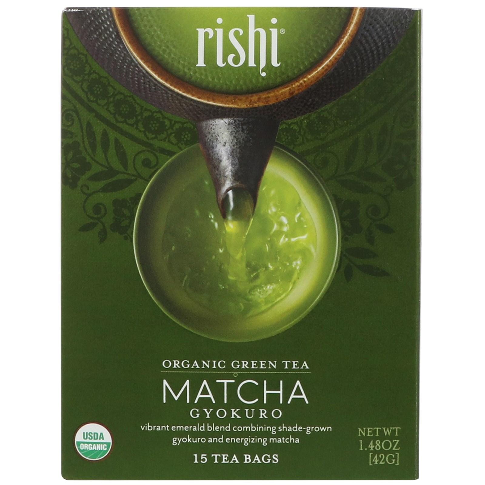 Rishi Tea, Organic Green Tea, Matcha Gyokuro, 15 Tea Bags