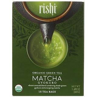 Rishi Tea, Organic Green Tea, Matcha Gyokuro, 15 Tea Bags, 1.48 oz (42 g)