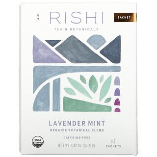 Rishi Tea, Organic Botanical Blend, Lavender Mint, Caffeine-Free, 15 Sachets, 1.32 oz (37.5 g)