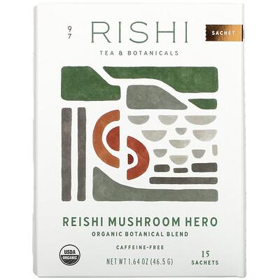 Купить Rishi Tea Organic Botanical Blend, Reishi Mushroom Hero, 15 Sachets, 1.64 oz (46.5 g)