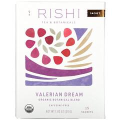 Rishi Tea, 有機植物混合物,纈草,無咖啡萃取,15 袋,1.05 盎司(30 克)