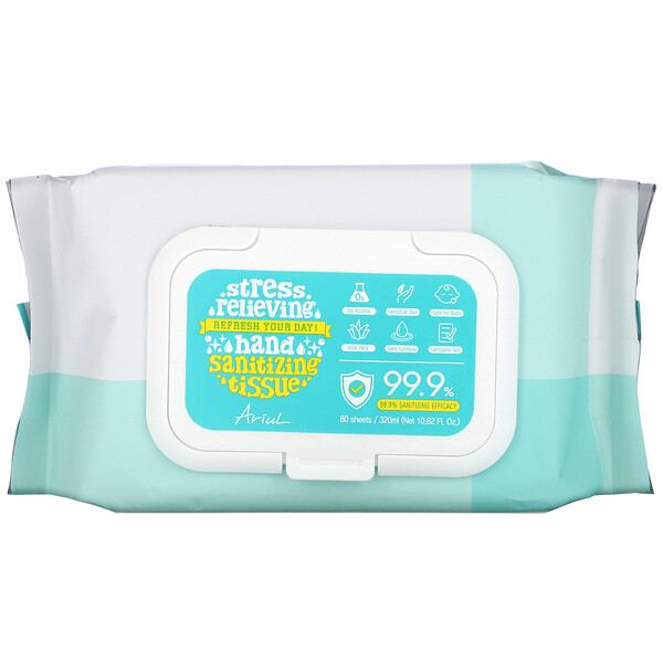 Ariul, Hand Sanitizing Wipes, 99.9% Efficacy, Aloe Vera, 80 Tissues