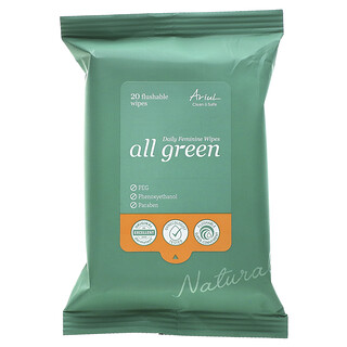 Ariul, All Green, Daily Feminine Wipes, 20 Flushable Wipes
