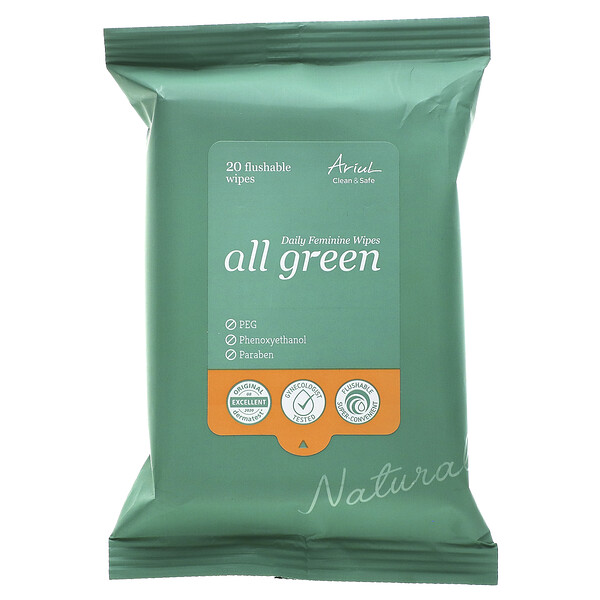 All Green, Daily Feminine Wipes, 20 Flushable Wipes