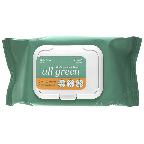 All Green, Daily Feminine Wipes, 40 Flushable Wipes