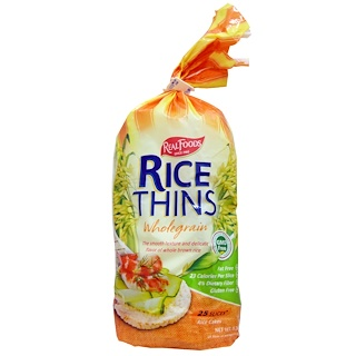 Real Foods, Rice Thins, Rice Cakes, Wholegrain, 25 Slices