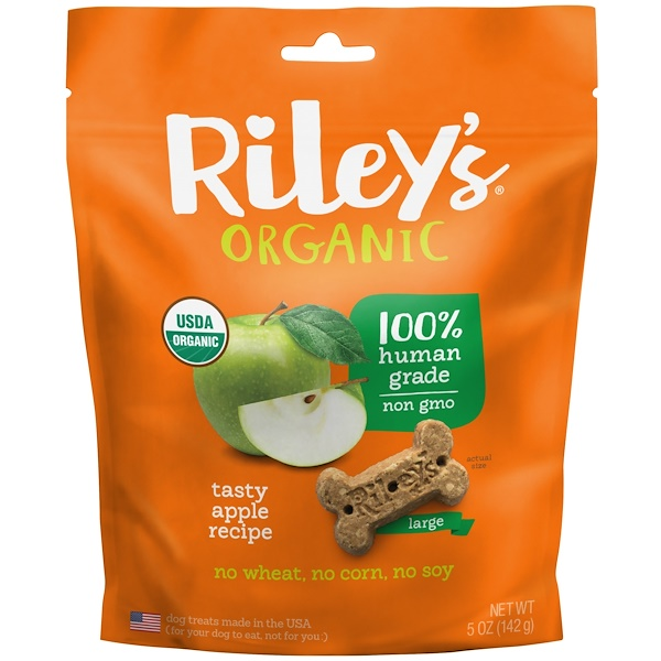 Riley's Organics, Dog Treats, Large Bone, Tasty Apple Recipe, 5 oz (142 g) (Discontinued Item)