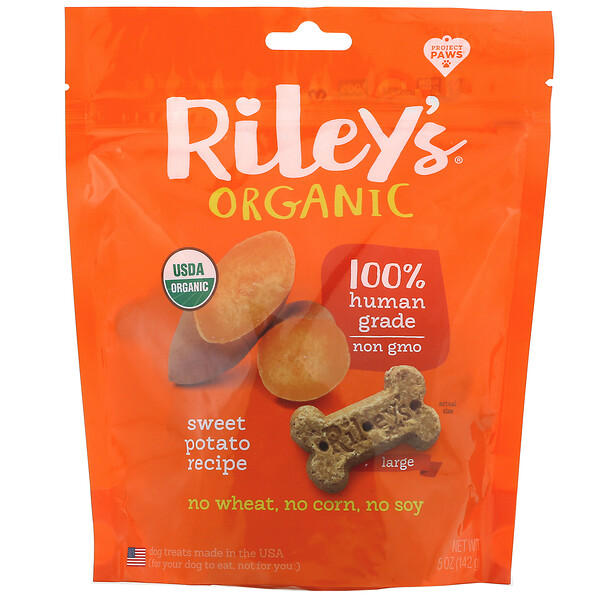 Riley's Organics, Dog Treats, Large Bone, Sweet Potato Recipe, 5 oz (142 g)
