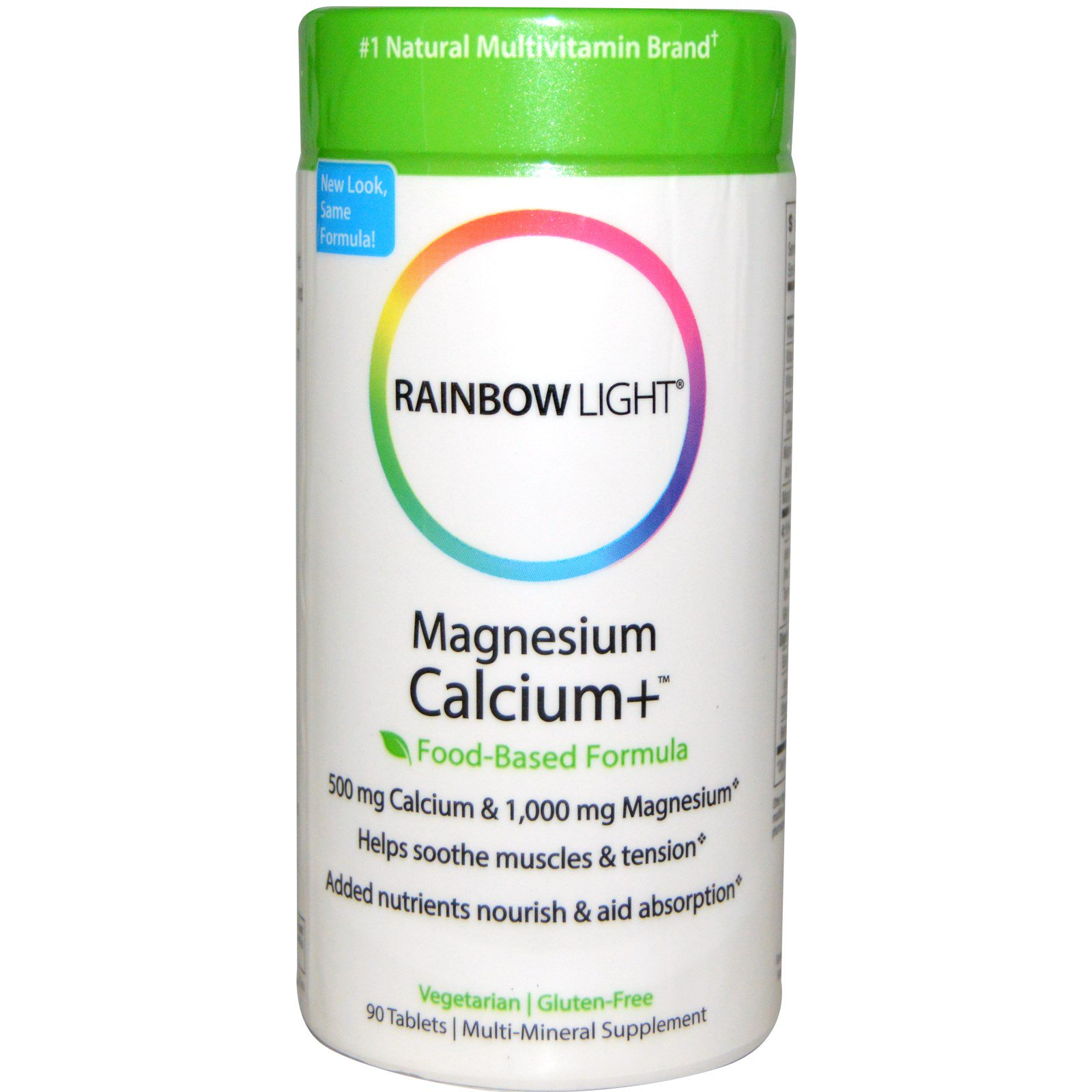 Rainbow Light, Магний и кальций+, пищевая формула, 90 таблеток