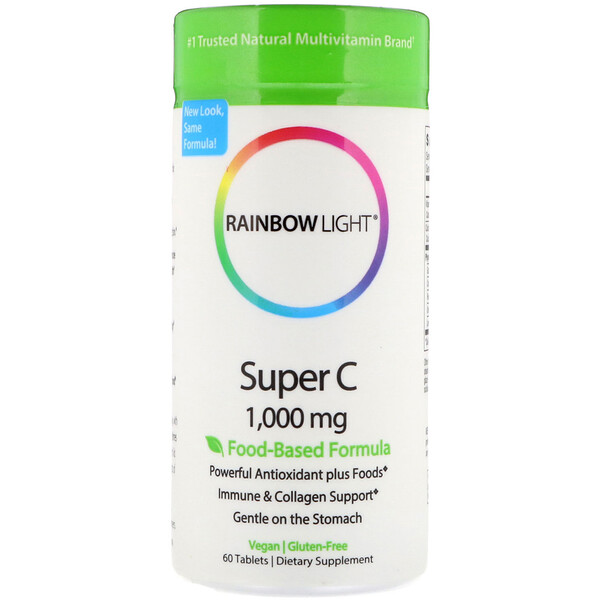 Rainbow Light, Super C, 1,000 毫克, 60 片