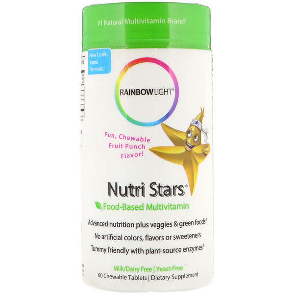 Nutri Stars, Food-Based Multivitamin, Fruit Punch Flavor, 60 Chewable Tablets