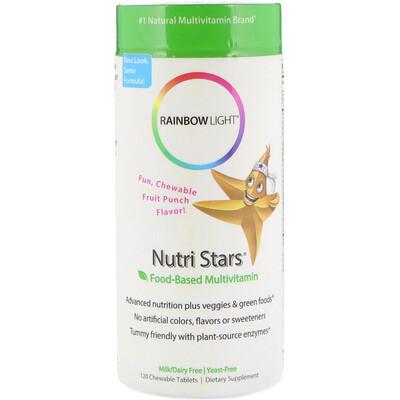 Rainbow Light Nutri Stars, мультивитамины на основе пищевых продуктов, со вкусом фруктового пунша, 120 жевательных таблеток