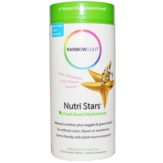 Rainbow Light, Nutri Stars, Food-Based Multivitamin, Fruit Punch Flavor, 120 Chewable Tablets