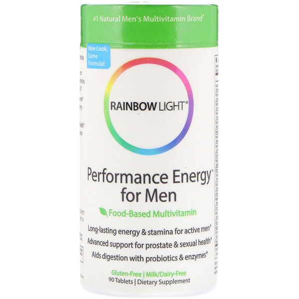 Rainbow Light, 男性性能的能量,食品為主的複合維生素,90片