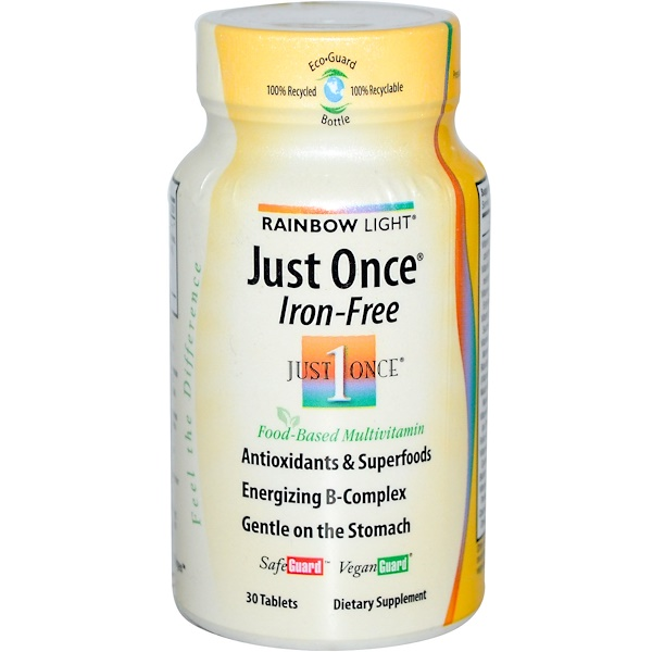 Rainbow Light, Just Once, Iron Free, Food-Based Multivitamin, 30 Tablets (Discontinued Item)