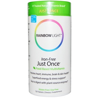 Rainbow Light, Just Once, пищевые мультивитамины, не содержащие железа, 120 таблеток