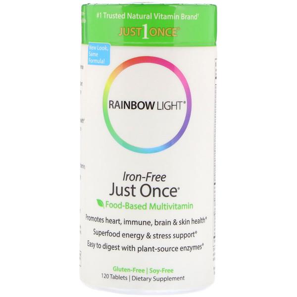 Rainbow Light, Just Once, Iron-Free, Food-Based Multivitamin, 120 Tablets (Discontinued Item)