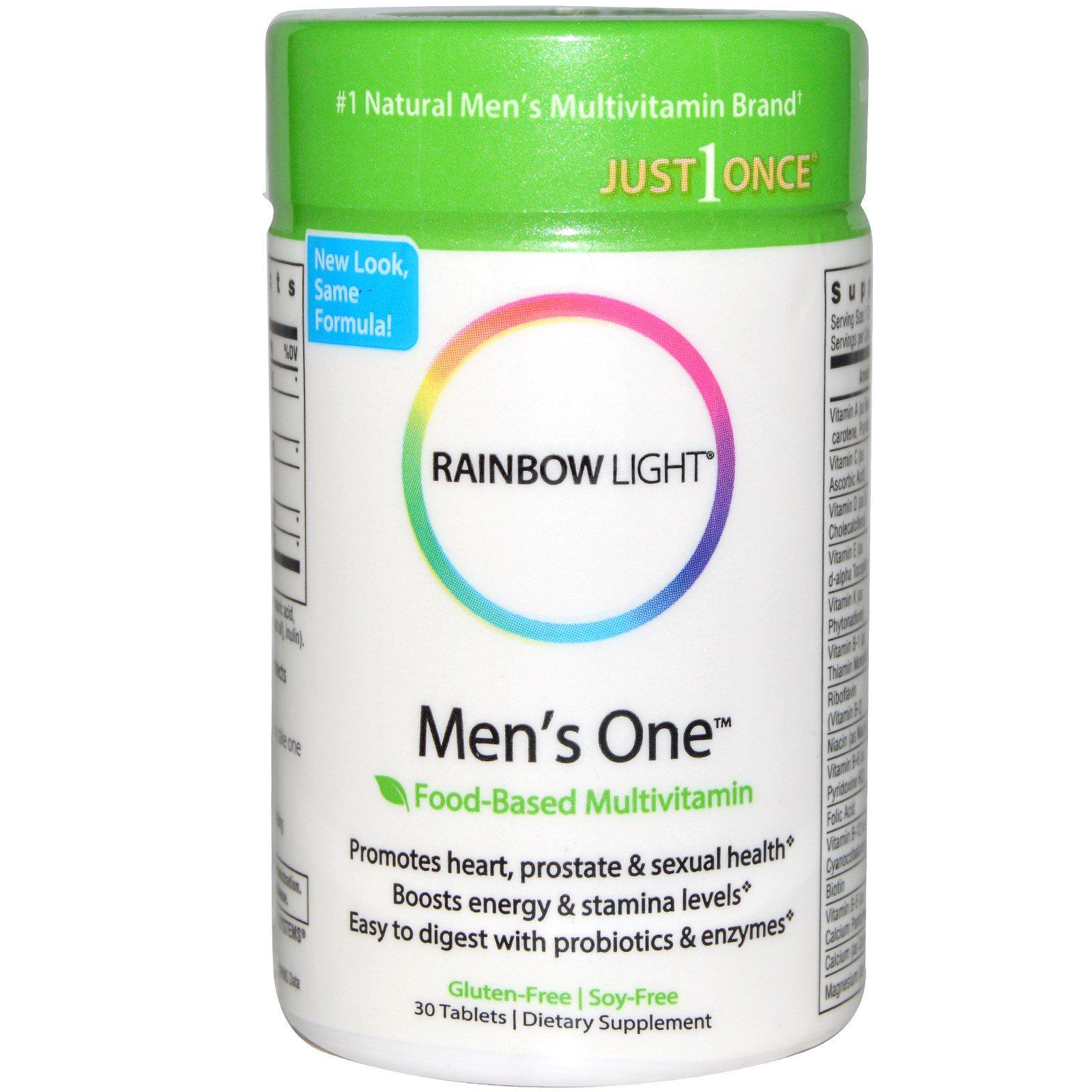 Rainbow Light, Только один раз, Men's One, поливитамин на пищевой основе, 30 таблеток