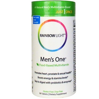 Rainbow Light, Just Once, Men's One, multivitamínico basado en alimentos, 90 comprimidos