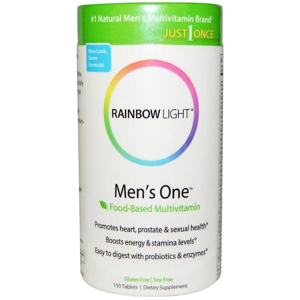 Rainbow Light, レインボーライト, Just Once, Men's One, Food-Based Multivitamin, 150 Tablets