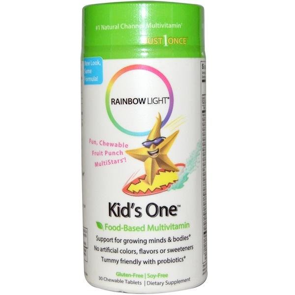 Rainbow Light, Kid's One, MultiStars, Food-Based Multivitamin, Fruit Punch, 30 Chewable Tablets