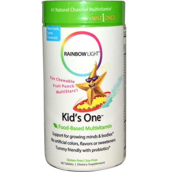Rainbow Light, Kid's One, Multistars, Food-Based Multivitamin, Fruit Punch, 90 Chewable Tablets