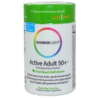 Rainbow Light, Just Once, Active Adult 50+, Food-Based Multivitamin, 30 Tablets