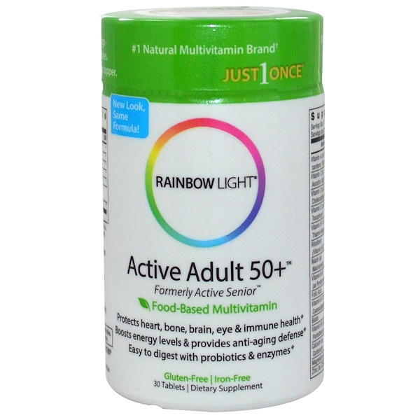 Rainbow Light, 每天一粒,50歲以上活躍成年人,食物來源多種維生素補充片,30片