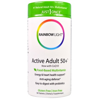 Rainbow Light, Just Once, Active Adult 50+, Food-Based Multivitamin, 90 Tablets
