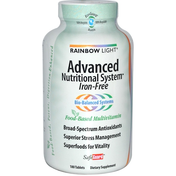 Rainbow Light, Advanced Nutritional System, Food-Based Multivitamin, Iron-Free, 180 Tablets (Discontinued Item)