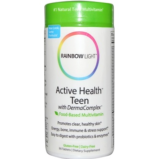 Rainbow Light, Active Health Teen con Derma Complex, Multivitamínico Alimenticio, 90 Tabletas