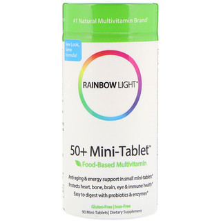 Rainbow Light, 50+ Mini Tablet, Food-Based Multivitamin, 90 Mini-Tablets