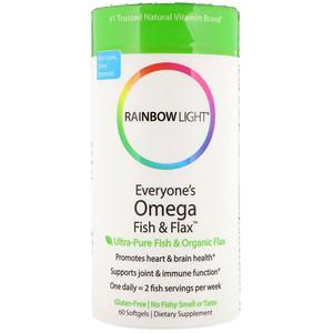 Раинбов Лигхт, Everyone's Omega Fish & Flax Oil, 60 Softgels отзывы