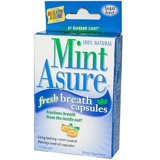 Rainbow Light, Mint Asure, Fresh Breath Capsules, 75 Capsules