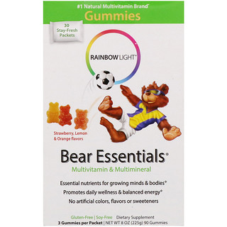 Rainbow Light, Bear Essentials, Multivitamin & Multimineral, Gummies, Strawberry, Lemon & Orange Flavors, 3 Gummies Per Packet, 90 Gummies