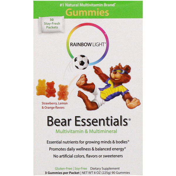 Rainbow Light, Bear Essentials, Multivitamin & Multimineral, Gummies, Strawberry, Lemon & Orange Flavors, 30 Packets, 3 Gummies Each