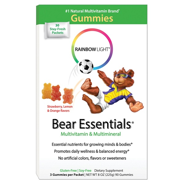 Rainbow Light, Bear Essentials, Multivitamin & Multimineral, Gummies, Strawberry, Orange, & Lemon Flavors, 3 Gummies Per Packet, 90 Gummies